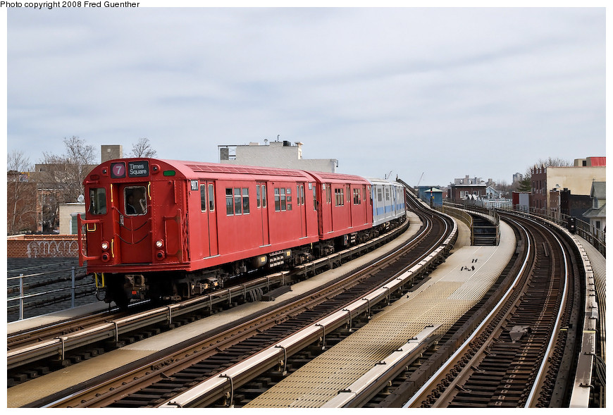 (219k, 870x589)<br><b>Country:</b> United States<br><b>City:</b> New York<br><b>System:</b> New York City Transit<br><b>Line:</b> IRT Flushing Line<br><b>Location:</b> 103rd Street/Corona Plaza <br><b>Route:</b> Museum Train Service (7)<br><b>Car:</b> R-33 Main Line (St. Louis, 1962-63) 9017 <br><b>Photo by:</b> Fred Guenther<br><b>Date:</b> 4/8/2008<br><b>Viewed (this week/total):</b> 11 / 1147