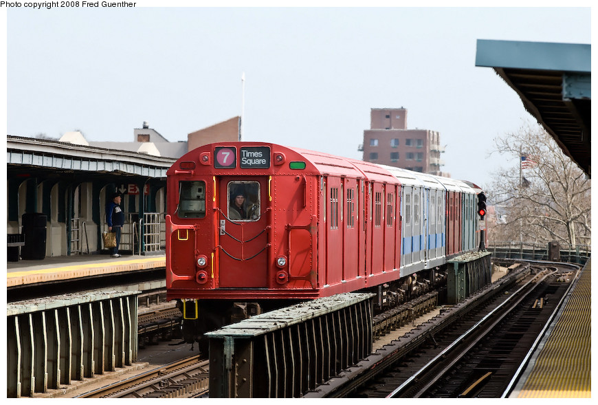 (205k, 870x589)<br><b>Country:</b> United States<br><b>City:</b> New York<br><b>System:</b> New York City Transit<br><b>Line:</b> IRT Flushing Line<br><b>Location:</b> 46th Street/Bliss Street <br><b>Route:</b> Museum Train Service (7)<br><b>Car:</b> R-33 Main Line (St. Louis, 1962-63) 9017 <br><b>Photo by:</b> Fred Guenther<br><b>Date:</b> 4/8/2008<br><b>Viewed (this week/total):</b> 1 / 1574