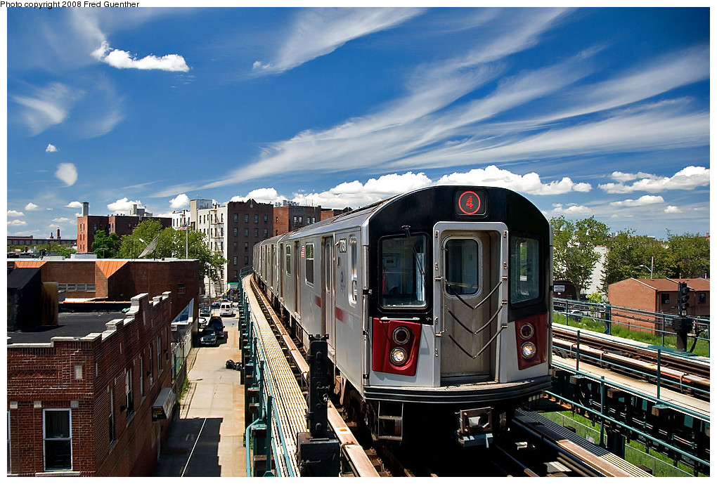 (305k, 1020x689)<br><b>Country:</b> United States<br><b>City:</b> New York<br><b>System:</b> New York City Transit<br><b>Line:</b> IRT Brooklyn Line<br><b>Location:</b> Saratoga Avenue <br><b>Route:</b> 4<br><b>Car:</b> R-142A (Supplemental Order, Kawasaki, 2003-2004)  7731 <br><b>Photo by:</b> Fred Guenther<br><b>Date:</b> 7/22/2007<br><b>Viewed (this week/total):</b> 2 / 4231