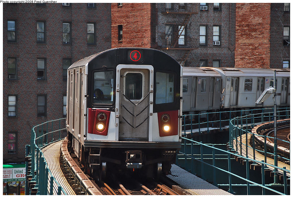 (366k, 1020x689)<br><b>Country:</b> United States<br><b>City:</b> New York<br><b>System:</b> New York City Transit<br><b>Line:</b> IRT Brooklyn Line<br><b>Location:</b> Saratoga Avenue <br><b>Route:</b> 4<br><b>Car:</b> R-142A (Option Order, Kawasaki, 2002-2003)  7696 <br><b>Photo by:</b> Fred Guenther<br><b>Date:</b> 7/22/2007<br><b>Viewed (this week/total):</b> 5 / 2625