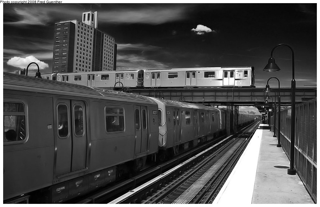 (170k, 1020x661)<br><b>Country:</b> United States<br><b>City:</b> New York<br><b>System:</b> New York City Transit<br><b>Line:</b> BMT Canarsie Line<br><b>Location:</b> Livonia Avenue <br><b>Route:</b> L<br><b>Car:</b> R-143 (Kawasaki, 2001-2002) 8237 <br><b>Photo by:</b> Fred Guenther<br><b>Date:</b> 7/22/2007<br><b>Viewed (this week/total):</b> 0 / 3093