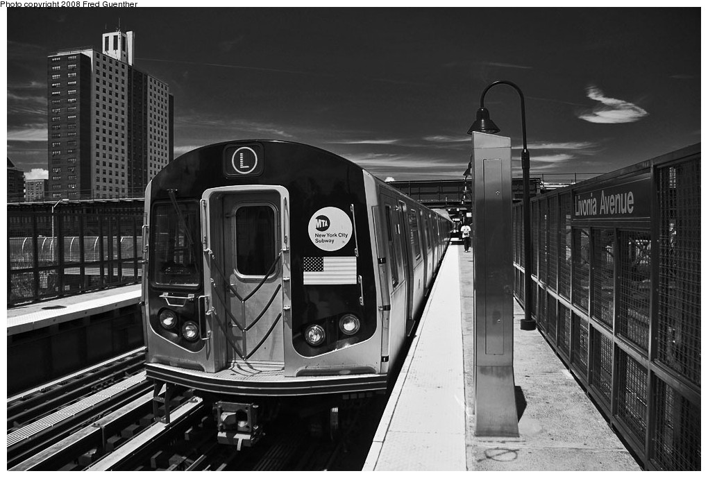 (195k, 1020x689)<br><b>Country:</b> United States<br><b>City:</b> New York<br><b>System:</b> New York City Transit<br><b>Line:</b> BMT Canarsie Line<br><b>Location:</b> Livonia Avenue <br><b>Route:</b> L<br><b>Car:</b> R-143 (Kawasaki, 2001-2002)  <br><b>Photo by:</b> Fred Guenther<br><b>Date:</b> 7/22/2007<br><b>Viewed (this week/total):</b> 0 / 1767