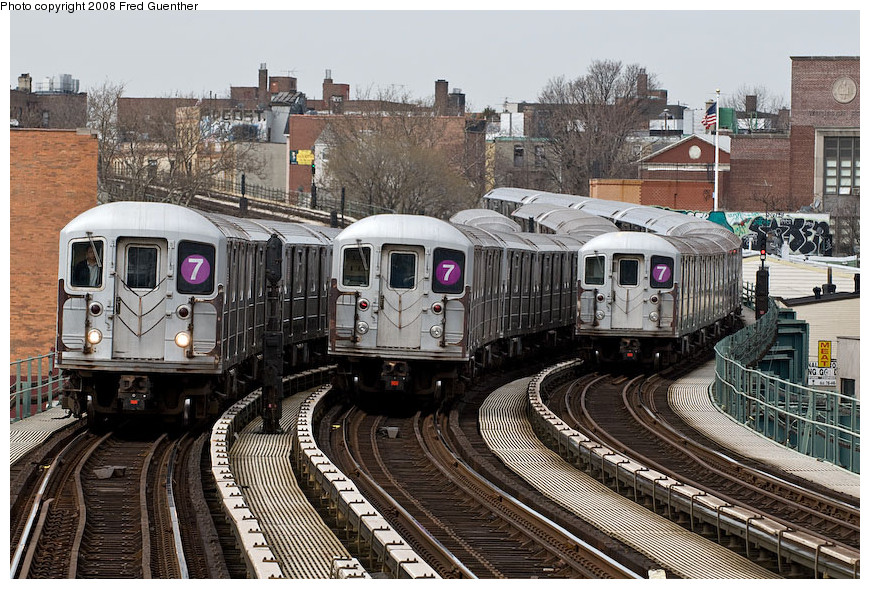 (253k, 870x589)<br><b>Country:</b> United States<br><b>City:</b> New York<br><b>System:</b> New York City Transit<br><b>Line:</b> IRT Flushing Line<br><b>Location:</b> 61st Street/Woodside <br><b>Route:</b> 7<br><b>Car:</b> R-62A (Bombardier, 1984-1987)   <br><b>Photo by:</b> Fred Guenther<br><b>Date:</b> 4/8/2008<br><b>Viewed (this week/total):</b> 3 / 2094