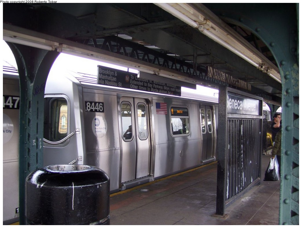 (189k, 1044x790)<br><b>Country:</b> United States<br><b>City:</b> New York<br><b>System:</b> New York City Transit<br><b>Line:</b> BMT Myrtle Avenue Line<br><b>Location:</b> Seneca Avenue <br><b>Route:</b> M<br><b>Car:</b> R-160A-1 (Alstom, 2005-2008, 4 car sets)  8446 <br><b>Photo by:</b> Roberto C. Tobar<br><b>Date:</b> 4/12/2008<br><b>Viewed (this week/total):</b> 0 / 1566