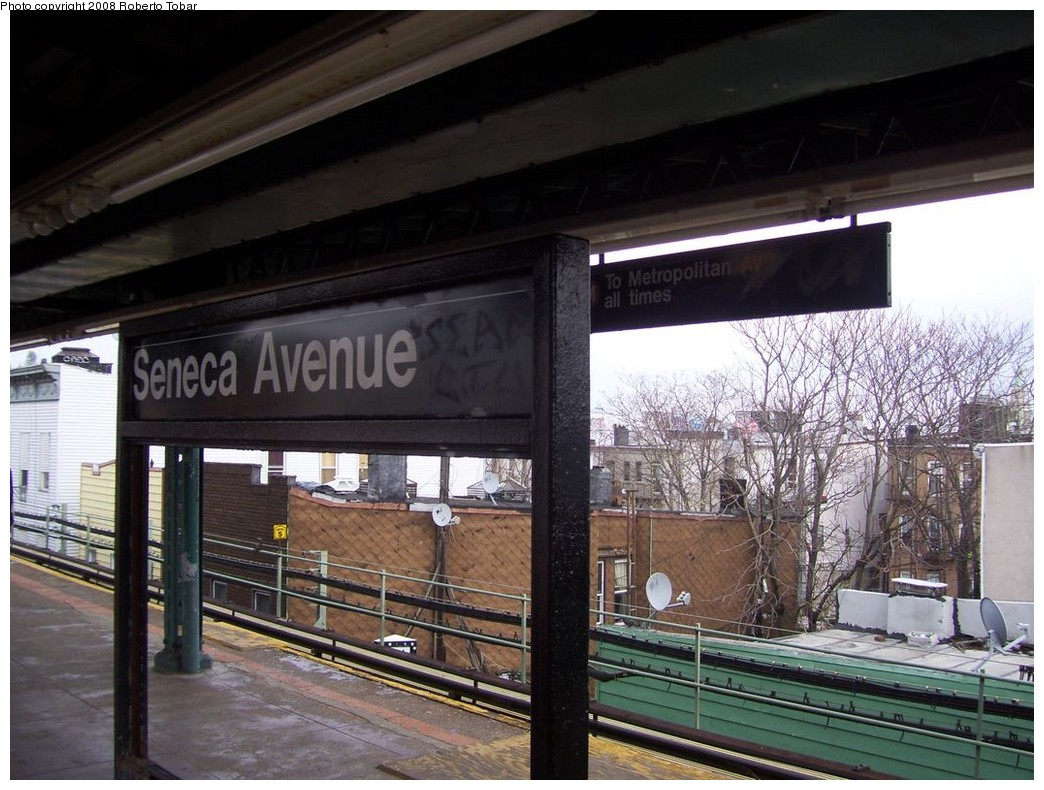 (223k, 1044x790)<br><b>Country:</b> United States<br><b>City:</b> New York<br><b>System:</b> New York City Transit<br><b>Line:</b> BMT Myrtle Avenue Line<br><b>Location:</b> Seneca Avenue <br><b>Photo by:</b> Roberto C. Tobar<br><b>Date:</b> 4/12/2008<br><b>Viewed (this week/total):</b> 1 / 1240