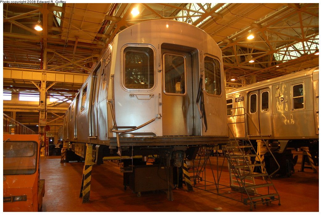 (296k, 1044x699)<br><b>Country:</b> United States<br><b>City:</b> New York<br><b>System:</b> New York City Transit<br><b>Location:</b> Coney Island Shop/Overhaul & Repair Shop<br><b>Car:</b> R-143 (Kawasaki, 2001-2002) 8123 <br><b>Photo by:</b> Edward R. Coffey<br><b>Date:</b> 4/12/2008<br><b>Viewed (this week/total):</b> 0 / 2019