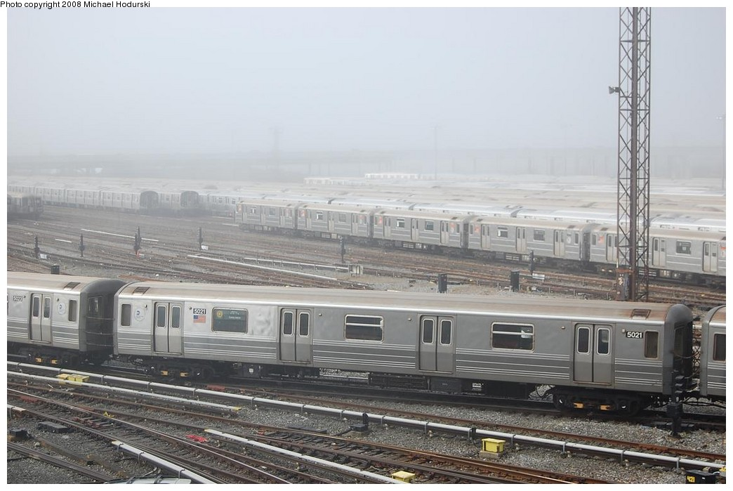 (211k, 1044x699)<br><b>Country:</b> United States<br><b>City:</b> New York<br><b>System:</b> New York City Transit<br><b>Location:</b> Coney Island Yard<br><b>Car:</b> R-68A (Kawasaki, 1988-1989)  5021 <br><b>Photo by:</b> Michael Hodurski<br><b>Date:</b> 4/12/2008<br><b>Viewed (this week/total):</b> 3 / 1394