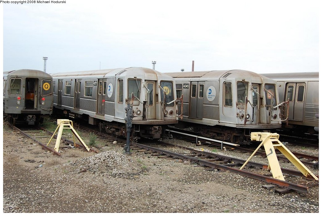 (274k, 1044x699)<br><b>Country:</b> United States<br><b>City:</b> New York<br><b>System:</b> New York City Transit<br><b>Location:</b> Coney Island Yard<br><b>Car:</b> R-40 (St. Louis, 1968)  4277-4345 <br><b>Photo by:</b> Michael Hodurski<br><b>Date:</b> 4/12/2008<br><b>Viewed (this week/total):</b> 0 / 1398