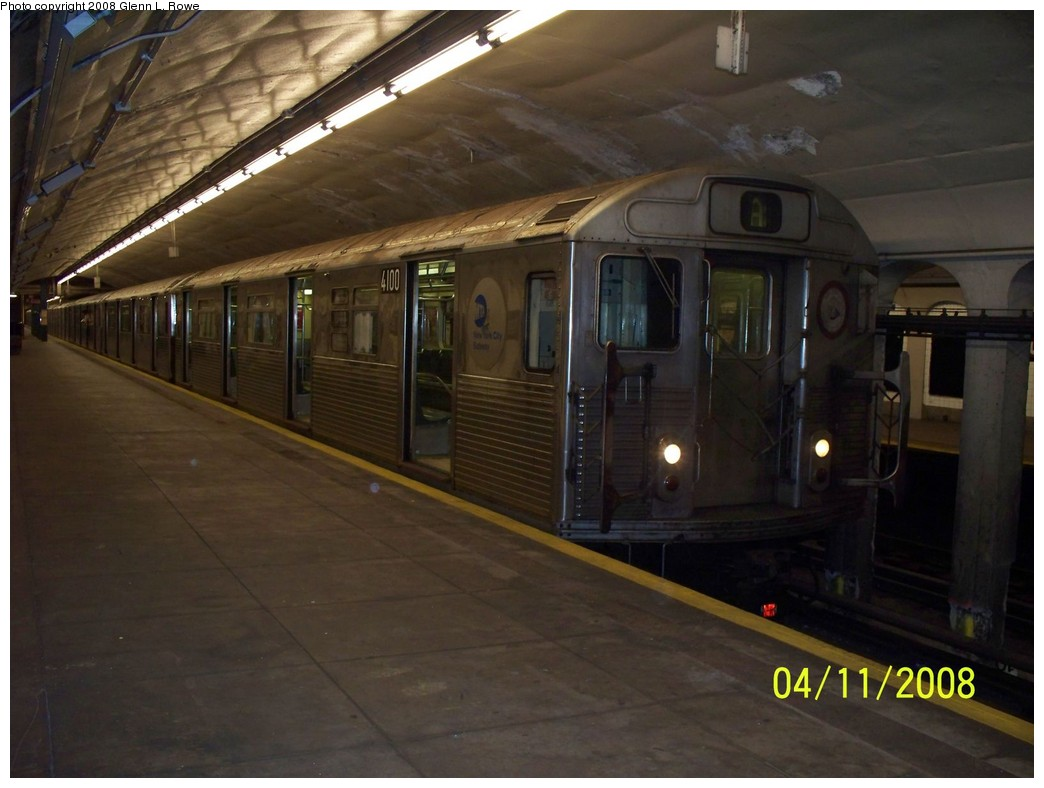 (174k, 1044x788)<br><b>Country:</b> United States<br><b>City:</b> New York<br><b>System:</b> New York City Transit<br><b>Line:</b> IND 8th Avenue Line<br><b>Location:</b> 190th Street/Overlook Terrace <br><b>Route:</b> A<br><b>Car:</b> R-38 (St. Louis, 1966-1967)  4100 <br><b>Photo by:</b> Glenn L. Rowe<br><b>Date:</b> 4/11/2008<br><b>Viewed (this week/total):</b> 0 / 1269