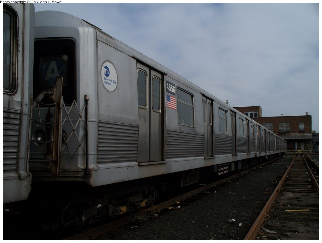 (155k, 1044x788)<br><b>Country:</b> United States<br><b>City:</b> New York<br><b>System:</b> New York City Transit<br><b>Location:</b> 207th Street Yard<br><b>Car:</b> R-42 (St. Louis, 1969-1970)  4556 <br><b>Photo by:</b> Glenn L. Rowe<br><b>Date:</b> 4/8/2008<br><b>Viewed (this week/total):</b> 0 / 963