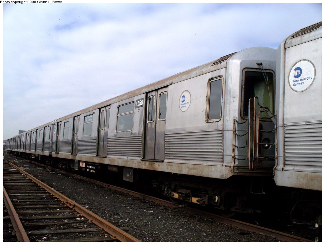 (193k, 1044x788)<br><b>Country:</b> United States<br><b>City:</b> New York<br><b>System:</b> New York City Transit<br><b>Location:</b> 207th Street Yard<br><b>Car:</b> R-42 (St. Louis, 1969-1970)  4558 <br><b>Photo by:</b> Glenn L. Rowe<br><b>Date:</b> 4/8/2008<br><b>Viewed (this week/total):</b> 0 / 843