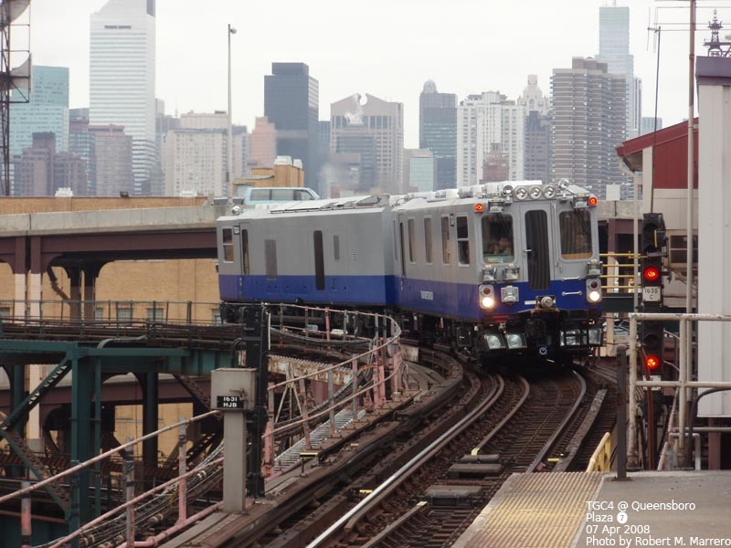 (126k, 800x600)<br><b>Country:</b> United States<br><b>City:</b> New York<br><b>System:</b> New York City Transit<br><b>Line:</b> IRT Flushing Line<br><b>Location:</b> Queensborough Plaza <br><b>Route:</b> Work Service<br><b>Car:</b> Track Geometry Car TGC4 <br><b>Photo by:</b> Robert Marrero<br><b>Date:</b> 4/7/2008<br><b>Viewed (this week/total):</b> 0 / 2459