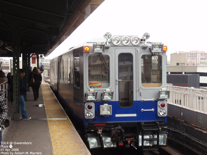(107k, 800x600)<br><b>Country:</b> United States<br><b>City:</b> New York<br><b>System:</b> New York City Transit<br><b>Line:</b> IRT Flushing Line<br><b>Location:</b> Queensborough Plaza <br><b>Route:</b> Work Service<br><b>Car:</b> Track Geometry Car TGC4 <br><b>Photo by:</b> Robert Marrero<br><b>Date:</b> 4/7/2008<br><b>Viewed (this week/total):</b> 4 / 2295