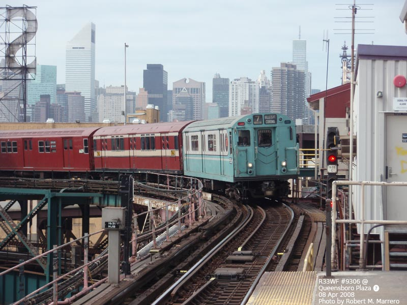 (130k, 800x600)<br><b>Country:</b> United States<br><b>City:</b> New York<br><b>System:</b> New York City Transit<br><b>Line:</b> IRT Flushing Line<br><b>Location:</b> Queensborough Plaza <br><b>Route:</b> Museum Train Service (7)<br><b>Car:</b> R-33 World's Fair (St. Louis, 1963-64) 9306 <br><b>Photo by:</b> Robert Marrero<br><b>Date:</b> 4/8/2008<br><b>Viewed (this week/total):</b> 0 / 1563