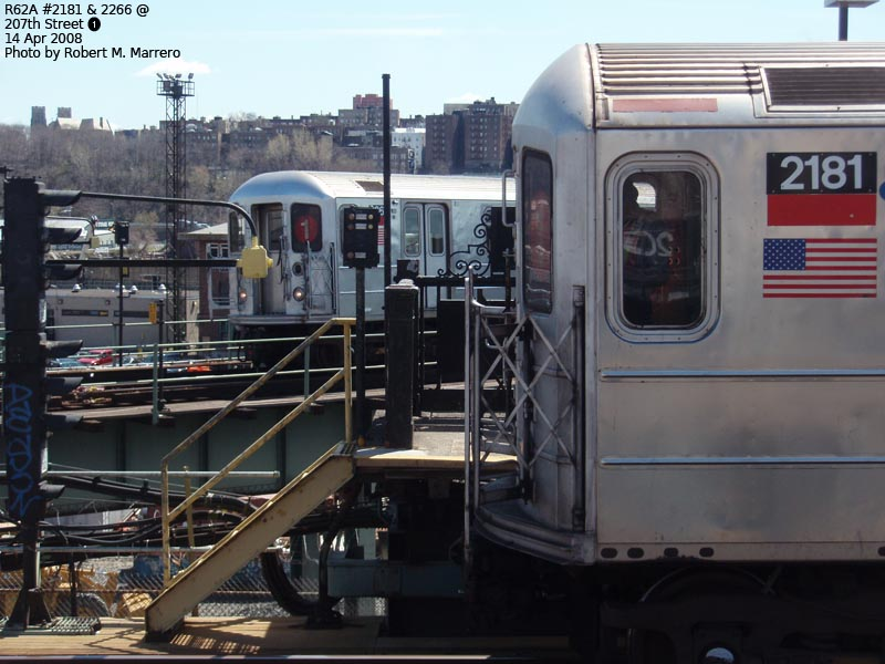 (119k, 800x600)<br><b>Country:</b> United States<br><b>City:</b> New York<br><b>System:</b> New York City Transit<br><b>Line:</b> IRT West Side Line<br><b>Location:</b> 207th Street <br><b>Route:</b> 1<br><b>Car:</b> R-62A (Bombardier, 1984-1987)  2181/2266 <br><b>Photo by:</b> Robert Marrero<br><b>Date:</b> 4/14/2008<br><b>Viewed (this week/total):</b> 4 / 2233