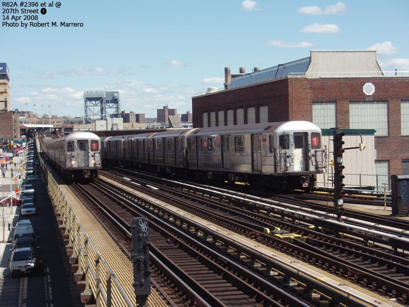 (141k, 800x600)<br><b>Country:</b> United States<br><b>City:</b> New York<br><b>System:</b> New York City Transit<br><b>Line:</b> IRT West Side Line<br><b>Location:</b> 207th Street <br><b>Route:</b> 1<br><b>Car:</b> R-62A (Bombardier, 1984-1987)  2396 <br><b>Photo by:</b> Robert Marrero<br><b>Date:</b> 4/14/2008<br><b>Viewed (this week/total):</b> 1 / 1583