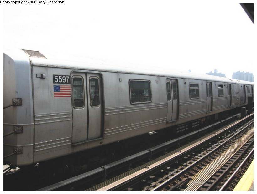 (94k, 820x620)<br><b>Country:</b> United States<br><b>City:</b> New York<br><b>System:</b> New York City Transit<br><b>Line:</b> BMT Culver Line<br><b>Location:</b> Avenue X <br><b>Route:</b> F<br><b>Car:</b> R-46 (Pullman-Standard, 1974-75) 5597 <br><b>Photo by:</b> Gary Chatterton<br><b>Date:</b> 4/12/2008<br><b>Viewed (this week/total):</b> 1 / 948