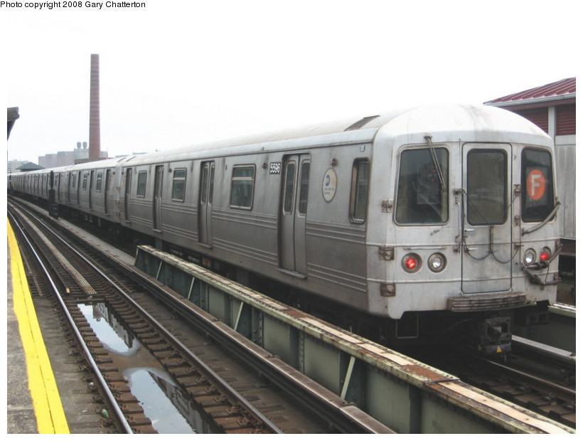 (110k, 820x620)<br><b>Country:</b> United States<br><b>City:</b> New York<br><b>System:</b> New York City Transit<br><b>Line:</b> BMT Culver Line<br><b>Location:</b> Avenue X <br><b>Route:</b> F<br><b>Car:</b> R-46 (Pullman-Standard, 1974-75) 5596 <br><b>Photo by:</b> Gary Chatterton<br><b>Date:</b> 4/12/2008<br><b>Viewed (this week/total):</b> 2 / 746