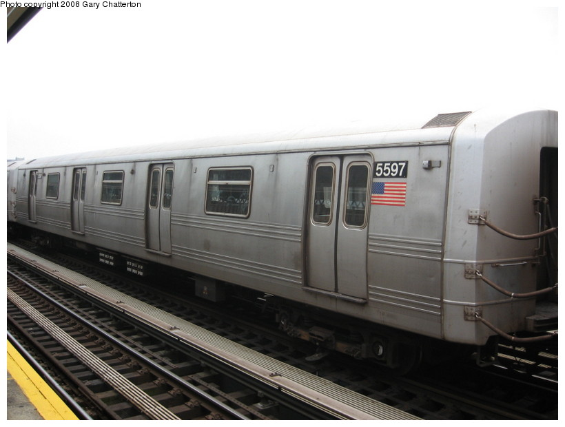 (99k, 820x620)<br><b>Country:</b> United States<br><b>City:</b> New York<br><b>System:</b> New York City Transit<br><b>Line:</b> BMT Culver Line<br><b>Location:</b> Avenue X <br><b>Route:</b> F<br><b>Car:</b> R-46 (Pullman-Standard, 1974-75) 5597 <br><b>Photo by:</b> Gary Chatterton<br><b>Date:</b> 4/12/2008<br><b>Viewed (this week/total):</b> 6 / 993