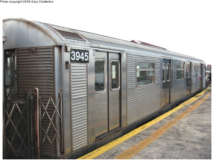 (126k, 820x620)<br><b>Country:</b> United States<br><b>City:</b> New York<br><b>System:</b> New York City Transit<br><b>Line:</b> BMT Culver Line<br><b>Location:</b> Kings Highway <br><b>Route:</b> F<br><b>Car:</b> R-32 (Budd, 1964)  3945 <br><b>Photo by:</b> Gary Chatterton<br><b>Date:</b> 4/12/2008<br><b>Viewed (this week/total):</b> 2 / 908