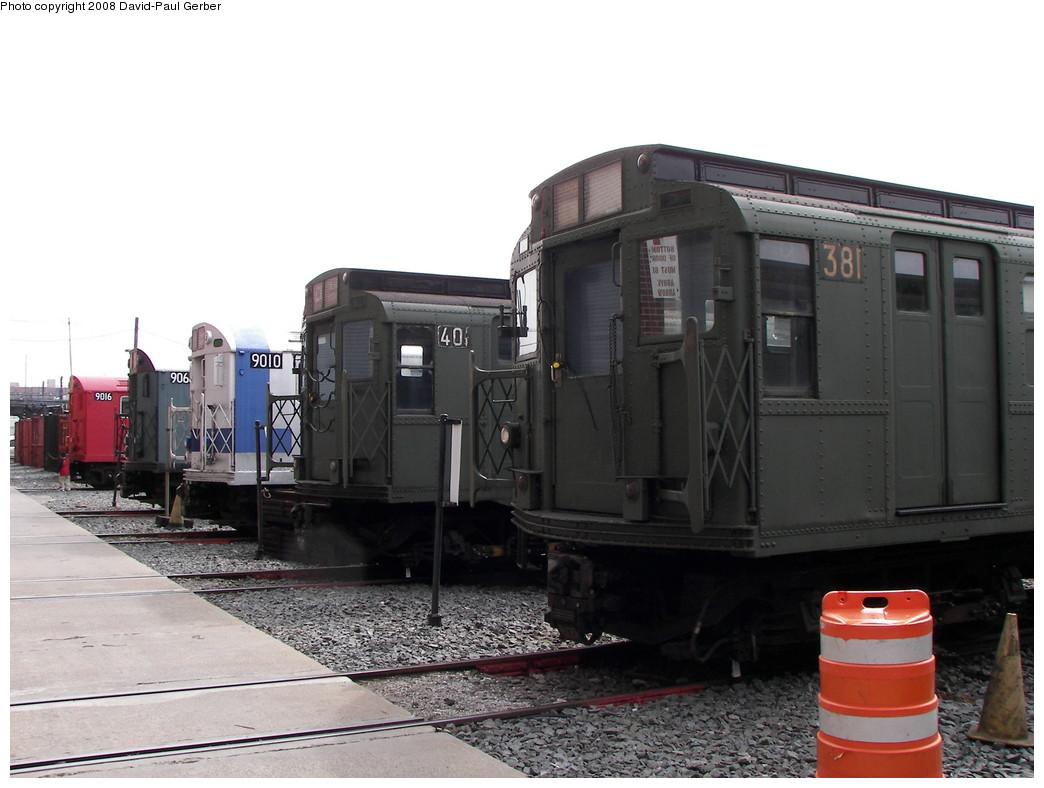 (228k, 1044x788)<br><b>Country:</b> United States<br><b>City:</b> New York<br><b>System:</b> New York City Transit<br><b>Location:</b> Coney Island Yard<br><b>Car:</b> R-1 (American Car & Foundry, 1930-1931) 381 <br><b>Photo by:</b> David-Paul Gerber<br><b>Date:</b> 4/12/2008<br><b>Notes:</b> Museum train lineup.<br><b>Viewed (this week/total):</b> 3 / 1375