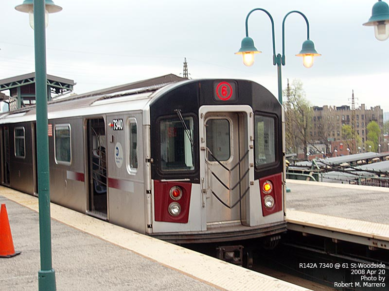 (117k, 800x600)<br><b>Country:</b> United States<br><b>City:</b> New York<br><b>System:</b> New York City Transit<br><b>Line:</b> IRT Flushing Line<br><b>Location:</b> 61st Street/Woodside <br><b>Car:</b> R-142A (Primary Order, Kawasaki, 1999-2002)  7340 <br><b>Photo by:</b> Robert Marrero<br><b>Date:</b> 4/20/2008<br><b>Notes:</b> R142A train at Woodside in connection with filming remake of The Taking of Pelham 1-2-3.<br><b>Viewed (this week/total):</b> 2 / 4171