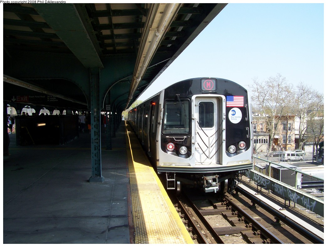 (228k, 1044x788)<br><b>Country:</b> United States<br><b>City:</b> New York<br><b>System:</b> New York City Transit<br><b>Line:</b> BMT Myrtle Avenue Line<br><b>Location:</b> Fresh Pond Road <br><b>Route:</b> M<br><b>Car:</b> R-160A-1 (Alstom, 2005-2008, 4 car sets)  8381 <br><b>Photo by:</b> Philip D'Allesandro<br><b>Date:</b> 4/19/2008<br><b>Viewed (this week/total):</b> 0 / 1495
