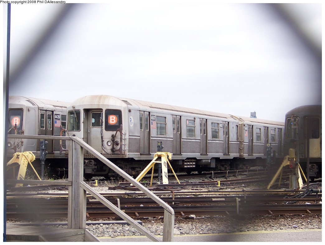 (204k, 1044x788)<br><b>Country:</b> United States<br><b>City:</b> New York<br><b>System:</b> New York City Transit<br><b>Location:</b> Coney Island Yard<br><b>Car:</b> R-40M (St. Louis, 1969)  4507 <br><b>Photo by:</b> Philip D'Allesandro<br><b>Date:</b> 4/20/2008<br><b>Viewed (this week/total):</b> 3 / 1276