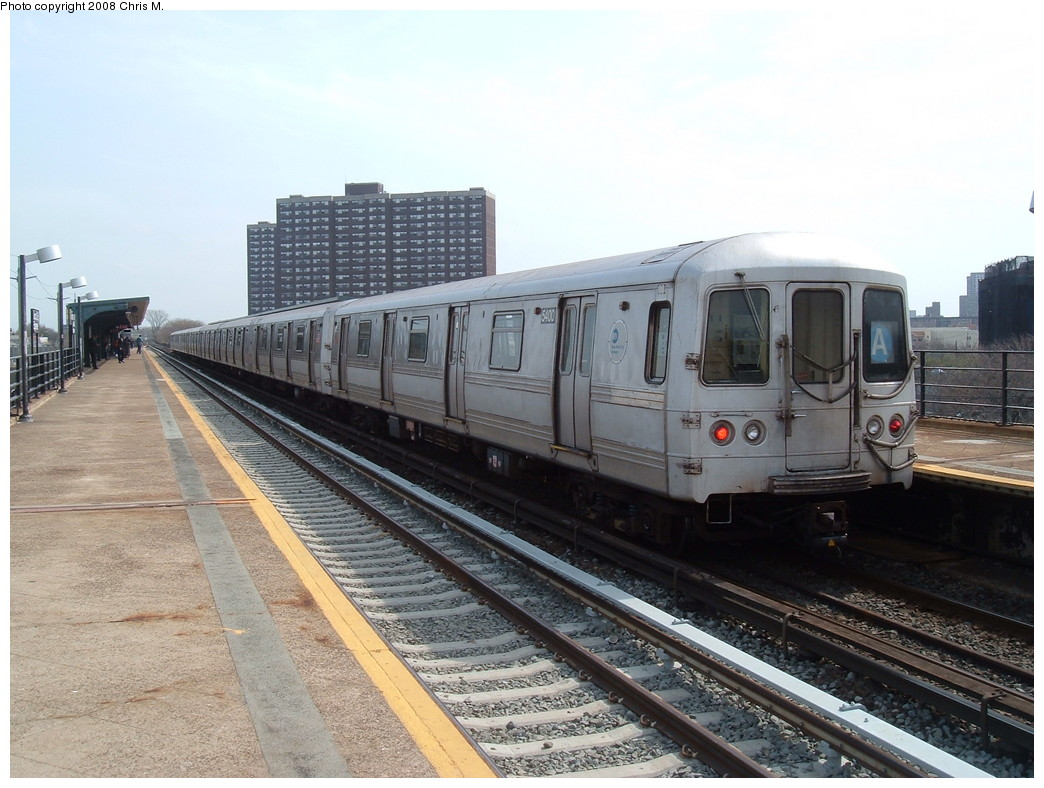 (224k, 1044x788)<br><b>Country:</b> United States<br><b>City:</b> New York<br><b>System:</b> New York City Transit<br><b>Line:</b> IND Rockaway<br><b>Location:</b> Beach 36th Street/Edgemere <br><b>Route:</b> A<br><b>Car:</b> R-44 (St. Louis, 1971-73) 5400 <br><b>Photo by:</b> Chris M.<br><b>Date:</b> 4/21/2008<br><b>Viewed (this week/total):</b> 2 / 1055