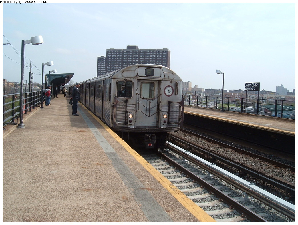 (250k, 1044x788)<br><b>Country:</b> United States<br><b>City:</b> New York<br><b>System:</b> New York City Transit<br><b>Line:</b> IND Rockaway<br><b>Location:</b> Beach 36th Street/Edgemere <br><b>Route:</b> A<br><b>Car:</b> R-38 (St. Louis, 1966-1967)  4055 <br><b>Photo by:</b> Chris M.<br><b>Date:</b> 4/21/2008<br><b>Viewed (this week/total):</b> 1 / 1514
