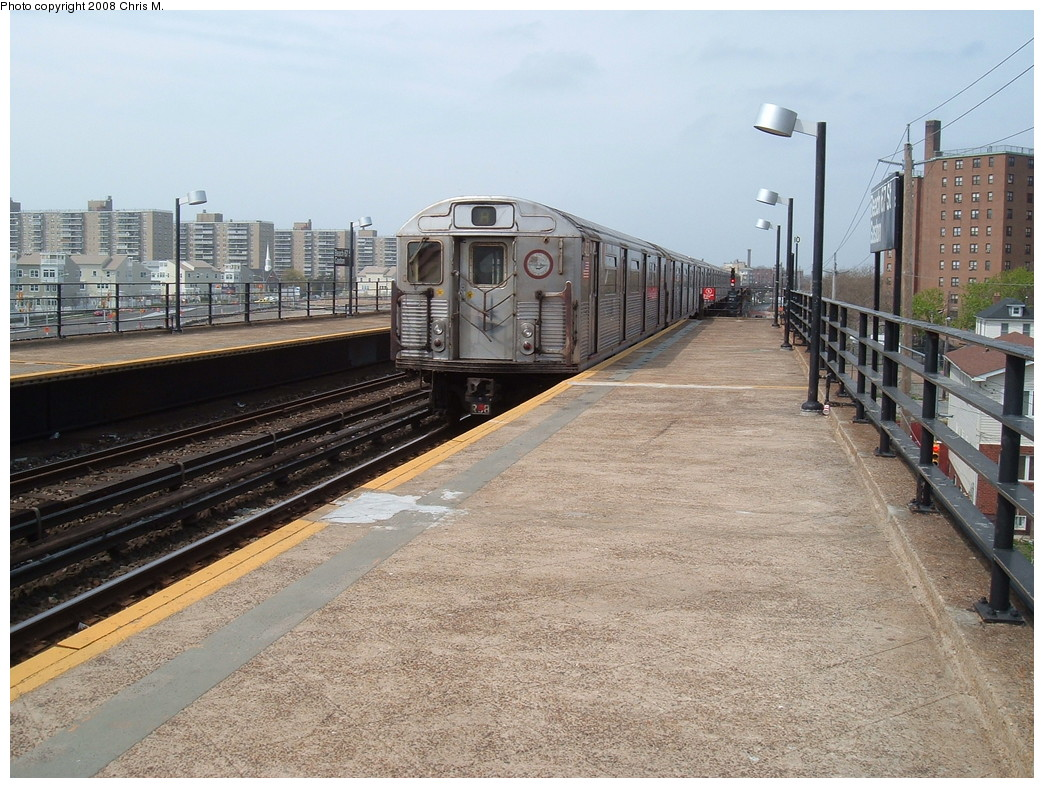 (267k, 1044x788)<br><b>Country:</b> United States<br><b>City:</b> New York<br><b>System:</b> New York City Transit<br><b>Line:</b> IND Rockaway<br><b>Location:</b> Beach 67th Street/Gaston Avenue <br><b>Route:</b> A<br><b>Car:</b> R-38 (St. Louis, 1966-1967)   <br><b>Photo by:</b> Chris M.<br><b>Date:</b> 4/21/2008<br><b>Viewed (this week/total):</b> 0 / 919