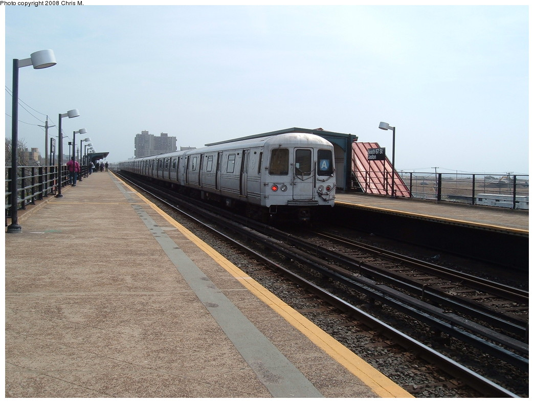 (226k, 1044x788)<br><b>Country:</b> United States<br><b>City:</b> New York<br><b>System:</b> New York City Transit<br><b>Line:</b> IND Rockaway<br><b>Location:</b> Beach 67th Street/Gaston Avenue <br><b>Route:</b> A<br><b>Car:</b> R-44 (St. Louis, 1971-73) 5386 <br><b>Photo by:</b> Chris M.<br><b>Date:</b> 4/21/2008<br><b>Viewed (this week/total):</b> 1 / 1397