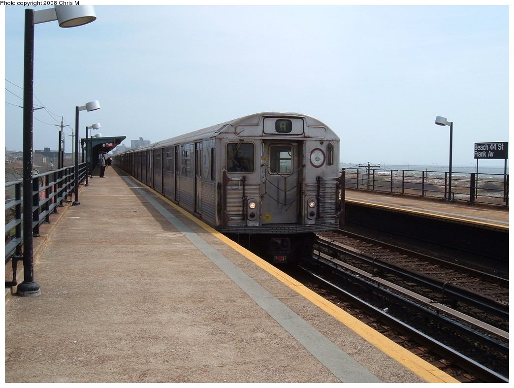 (226k, 1044x788)<br><b>Country:</b> United States<br><b>City:</b> New York<br><b>System:</b> New York City Transit<br><b>Line:</b> IND Rockaway<br><b>Location:</b> Beach 44th Street/Frank Avenue <br><b>Route:</b> A<br><b>Car:</b> R-38 (St. Louis, 1966-1967)  3958 <br><b>Photo by:</b> Chris M.<br><b>Date:</b> 4/21/2008<br><b>Viewed (this week/total):</b> 0 / 1002