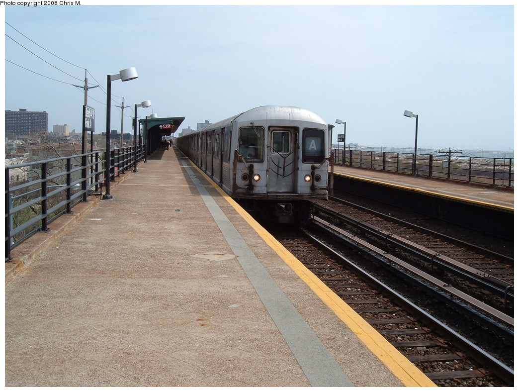 (246k, 1044x788)<br><b>Country:</b> United States<br><b>City:</b> New York<br><b>System:</b> New York City Transit<br><b>Line:</b> IND Rockaway<br><b>Location:</b> Beach 44th Street/Frank Avenue <br><b>Route:</b> A<br><b>Car:</b> R-42 (St. Louis, 1969-1970)  4570 <br><b>Photo by:</b> Chris M.<br><b>Date:</b> 4/21/2008<br><b>Viewed (this week/total):</b> 3 / 1606