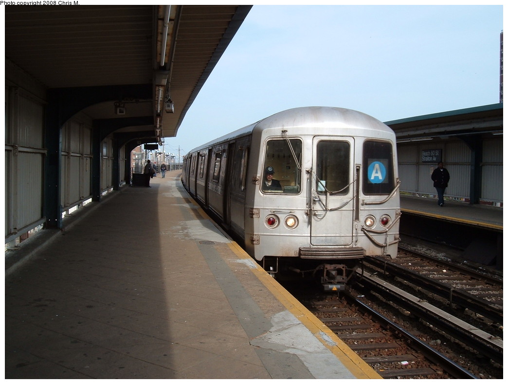 (184k, 1044x788)<br><b>Country:</b> United States<br><b>City:</b> New York<br><b>System:</b> New York City Transit<br><b>Line:</b> IND Rockaway<br><b>Location:</b> Beach 60th Street/Straiton <br><b>Route:</b> A<br><b>Car:</b> R-44 (St. Louis, 1971-73)  <br><b>Photo by:</b> Chris M.<br><b>Date:</b> 4/21/2008<br><b>Viewed (this week/total):</b> 0 / 933