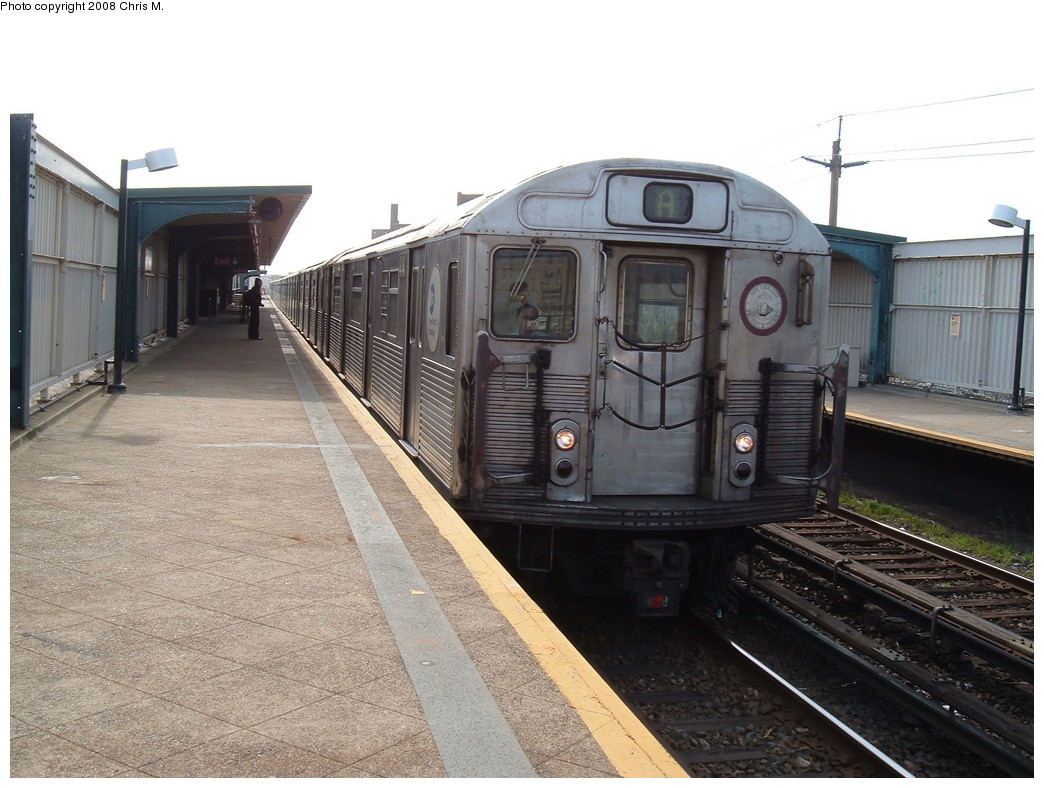 (221k, 1044x788)<br><b>Country:</b> United States<br><b>City:</b> New York<br><b>System:</b> New York City Transit<br><b>Line:</b> IND Rockaway<br><b>Location:</b> Beach 67th Street/Gaston Avenue <br><b>Route:</b> A<br><b>Car:</b> R-38 (St. Louis, 1966-1967)  4141 <br><b>Photo by:</b> Chris M.<br><b>Date:</b> 4/21/2008<br><b>Viewed (this week/total):</b> 2 / 1235