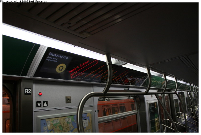 (104k, 820x553)<br><b>Country:</b> United States<br><b>City:</b> New York<br><b>System:</b> New York City Transit<br><b>Car:</b> R-160A-1 (Alstom, 2005-2008, 4 car sets)  8480 <br><b>Photo by:</b> Neil Feldman<br><b>Date:</b> 4/12/2008<br><b>Notes:</b> Showing Q route sign.<br><b>Viewed (this week/total):</b> 2 / 2091