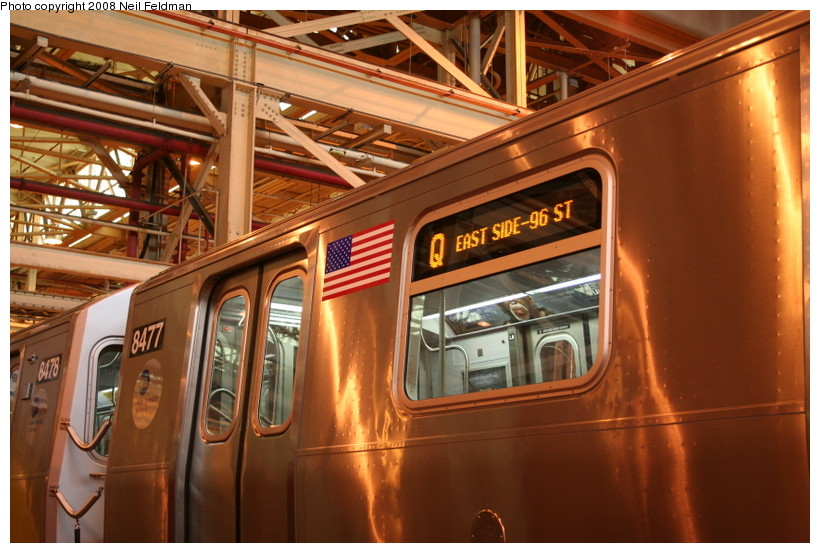 (159k, 820x553)<br><b>Country:</b> United States<br><b>City:</b> New York<br><b>System:</b> New York City Transit<br><b>Location:</b> Coney Island Shop/Overhaul & Repair Shop<br><b>Car:</b> R-160A-1 (Alstom, 2005-2008, 4 car sets)  8480 <br><b>Photo by:</b> Neil Feldman<br><b>Date:</b> 4/12/2008<br><b>Notes:</b> Showing Q route sign.<br><b>Viewed (this week/total):</b> 0 / 2525