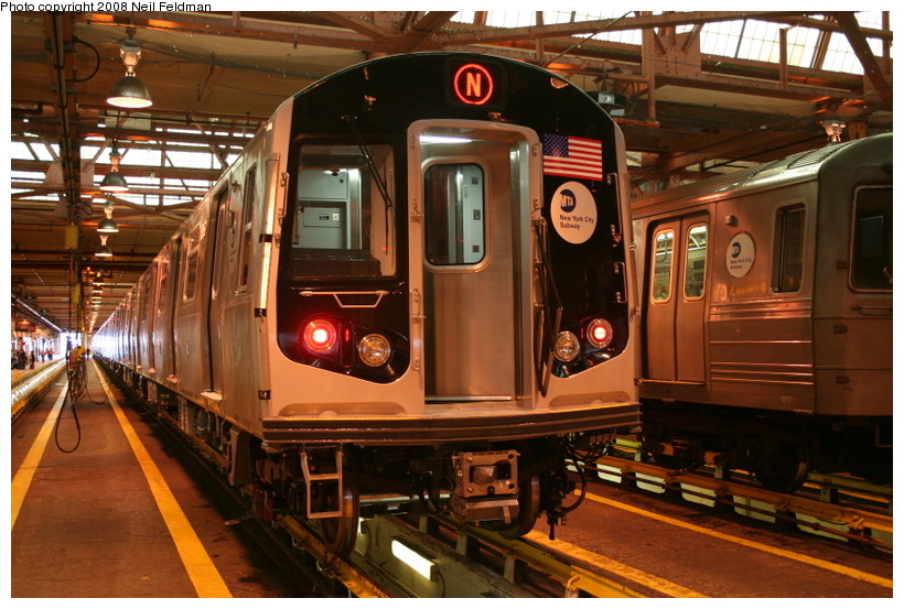 (170k, 820x553)<br><b>Country:</b> United States<br><b>City:</b> New York<br><b>System:</b> New York City Transit<br><b>Location:</b> Coney Island Shop/Overhaul & Repair Shop<br><b>Car:</b> R-160B (Kawasaki, 2005-2008)  8957 <br><b>Photo by:</b> Neil Feldman<br><b>Date:</b> 4/12/2008<br><b>Viewed (this week/total):</b> 1 / 2179