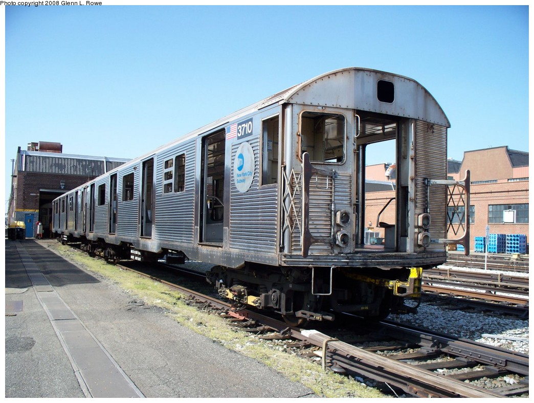 (251k, 1044x788)<br><b>Country:</b> United States<br><b>City:</b> New York<br><b>System:</b> New York City Transit<br><b>Location:</b> 207th Street Yard<br><b>Car:</b> R-32 (Budd, 1964)  3710 <br><b>Photo by:</b> Glenn L. Rowe<br><b>Date:</b> 4/24/2008<br><b>Viewed (this week/total):</b> 3 / 1295