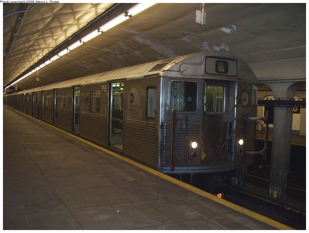 (190k, 1044x788)<br><b>Country:</b> United States<br><b>City:</b> New York<br><b>System:</b> New York City Transit<br><b>Line:</b> IND 8th Avenue Line<br><b>Location:</b> 190th Street/Overlook Terrace <br><b>Route:</b> A<br><b>Car:</b> R-38 (St. Louis, 1966-1967)  3958 <br><b>Photo by:</b> Glenn L. Rowe<br><b>Date:</b> 4/16/2008<br><b>Viewed (this week/total):</b> 1 / 1561