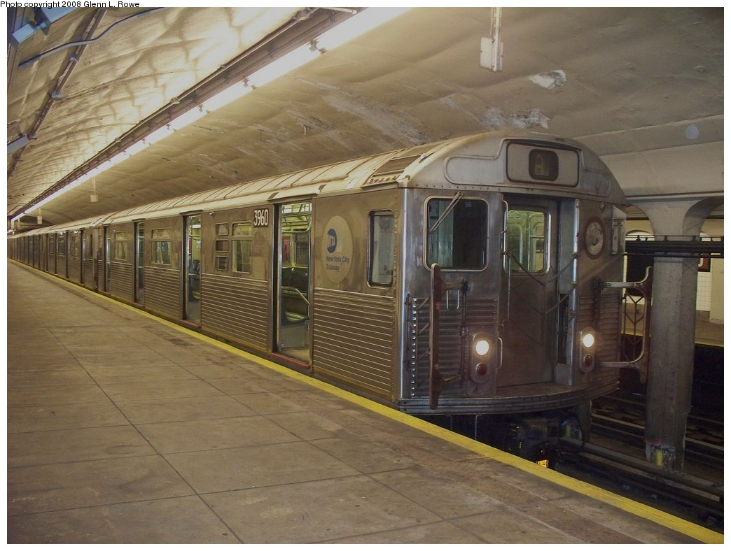 (212k, 1044x788)<br><b>Country:</b> United States<br><b>City:</b> New York<br><b>System:</b> New York City Transit<br><b>Line:</b> IND 8th Avenue Line<br><b>Location:</b> 190th Street/Overlook Terrace <br><b>Route:</b> A<br><b>Car:</b> R-38 (St. Louis, 1966-1967)  3960 <br><b>Photo by:</b> Glenn L. Rowe<br><b>Date:</b> 4/23/2008<br><b>Viewed (this week/total):</b> 0 / 1613