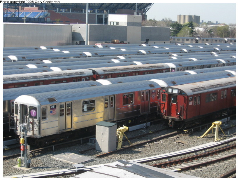 (165k, 820x620)<br><b>Country:</b> United States<br><b>City:</b> New York<br><b>System:</b> New York City Transit<br><b>Location:</b> Corona Yard<br><b>Car:</b> R-62A (Bombardier, 1984-1987)  2151 <br><b>Photo by:</b> Gary Chatterton<br><b>Date:</b> 4/19/2008<br><b>Viewed (this week/total):</b> 1 / 1158