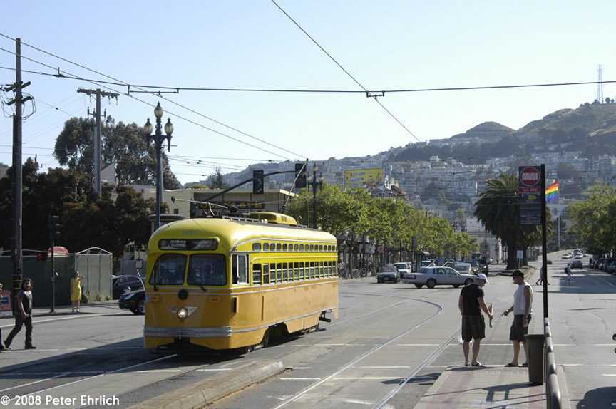 (184k, 864x574)<br><b>Country:</b> United States<br><b>City:</b> San Francisco/Bay Area, CA<br><b>System:</b> SF MUNI<br><b>Location:</b> Market/16th/Noe <br><b>Car:</b> SF MUNI PCC (Ex-SEPTA) (St. Louis Car Co., 1947-1948)  1052 <br><b>Photo by:</b> Peter Ehrlich<br><b>Date:</b> 4/12/2008<br><b>Notes:</b> Market/Noe/16th Street inbound.<br><b>Viewed (this week/total):</b> 0 / 451