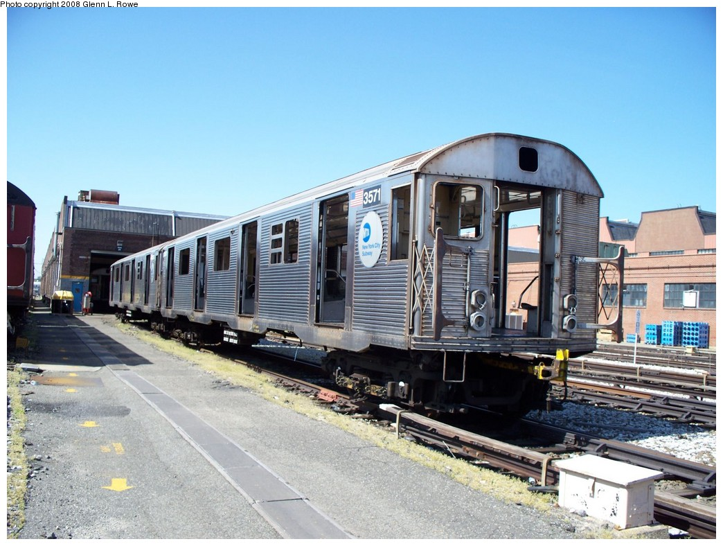 (236k, 1044x788)<br><b>Country:</b> United States<br><b>City:</b> New York<br><b>System:</b> New York City Transit<br><b>Location:</b> 207th Street Yard<br><b>Car:</b> R-32 (Budd, 1964)  3571 <br><b>Photo by:</b> Glenn L. Rowe<br><b>Date:</b> 5/5/2008<br><b>Notes:</b> Scrap<br><b>Viewed (this week/total):</b> 5 / 1070