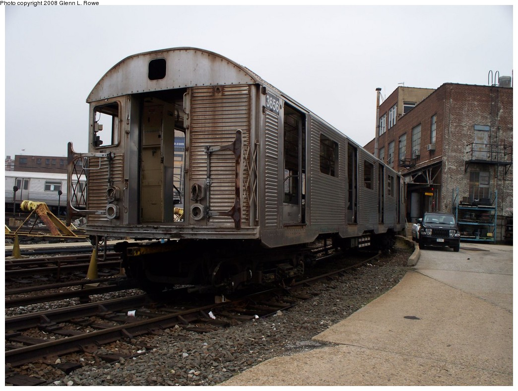 (224k, 1044x788)<br><b>Country:</b> United States<br><b>City:</b> New York<br><b>System:</b> New York City Transit<br><b>Location:</b> 207th Street Yard<br><b>Car:</b> R-32 (Budd, 1964)  3656 <br><b>Photo by:</b> Glenn L. Rowe<br><b>Date:</b> 5/2/2008<br><b>Viewed (this week/total):</b> 1 / 1002