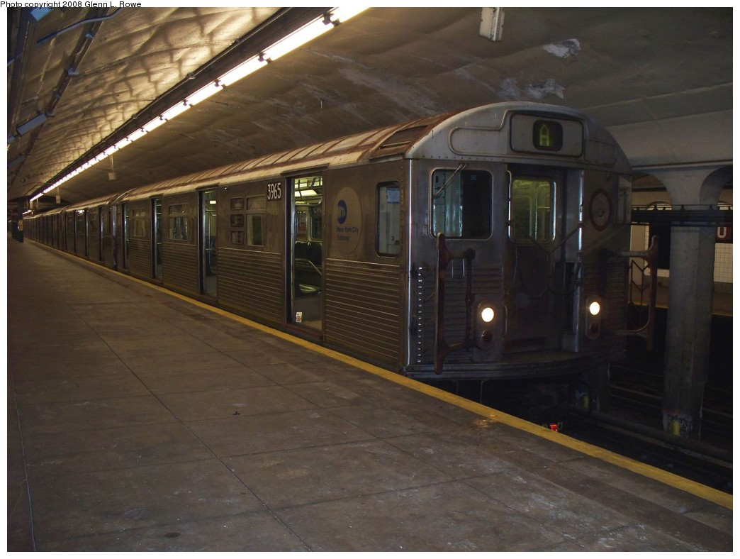 (181k, 1044x788)<br><b>Country:</b> United States<br><b>City:</b> New York<br><b>System:</b> New York City Transit<br><b>Line:</b> IND 8th Avenue Line<br><b>Location:</b> 190th Street/Overlook Terrace <br><b>Route:</b> A<br><b>Car:</b> R-38 (St. Louis, 1966-1967)  3965 <br><b>Photo by:</b> Glenn L. Rowe<br><b>Date:</b> 5/2/2008<br><b>Viewed (this week/total):</b> 0 / 1212