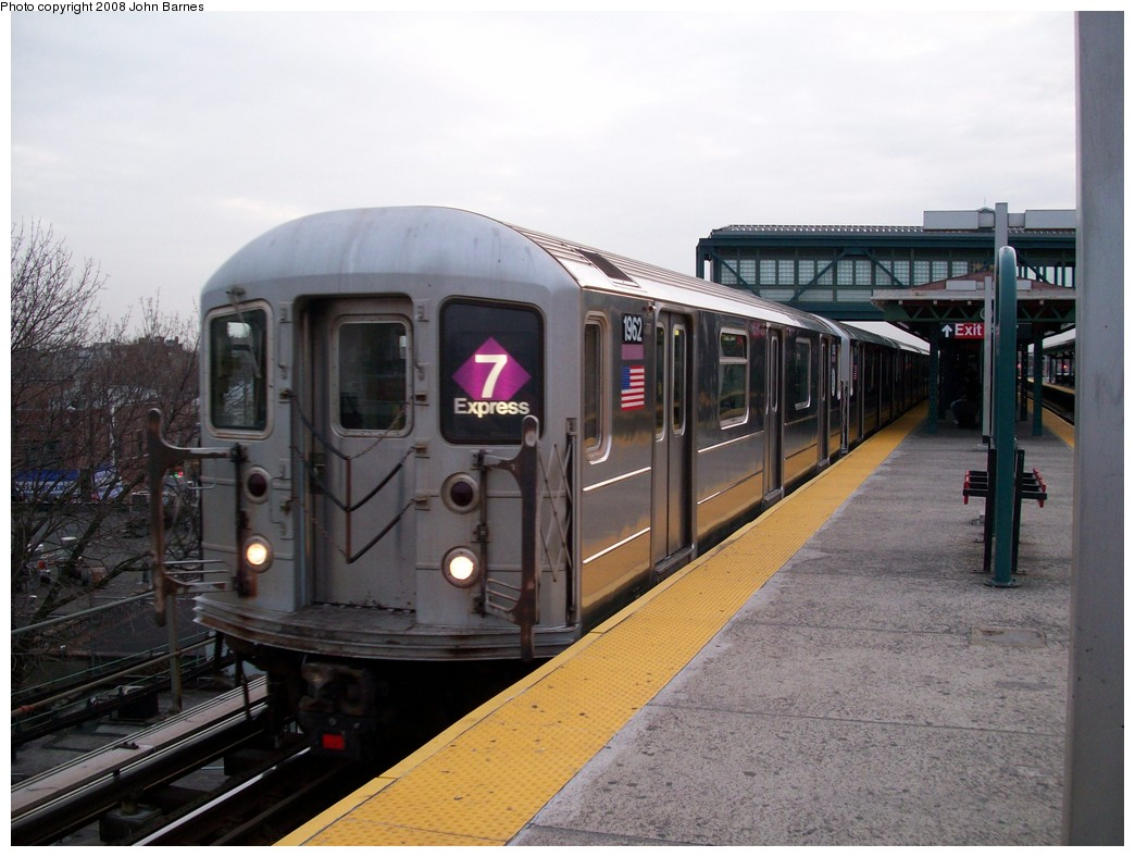 (201k, 1044x788)<br><b>Country:</b> United States<br><b>City:</b> New York<br><b>System:</b> New York City Transit<br><b>Line:</b> IRT Flushing Line<br><b>Location:</b> Junction Boulevard <br><b>Route:</b> 7<br><b>Car:</b> R-62A (Bombardier, 1984-1987)  1962 <br><b>Photo by:</b> John Barnes<br><b>Date:</b> 4/7/2008<br><b>Viewed (this week/total):</b> 1 / 1838