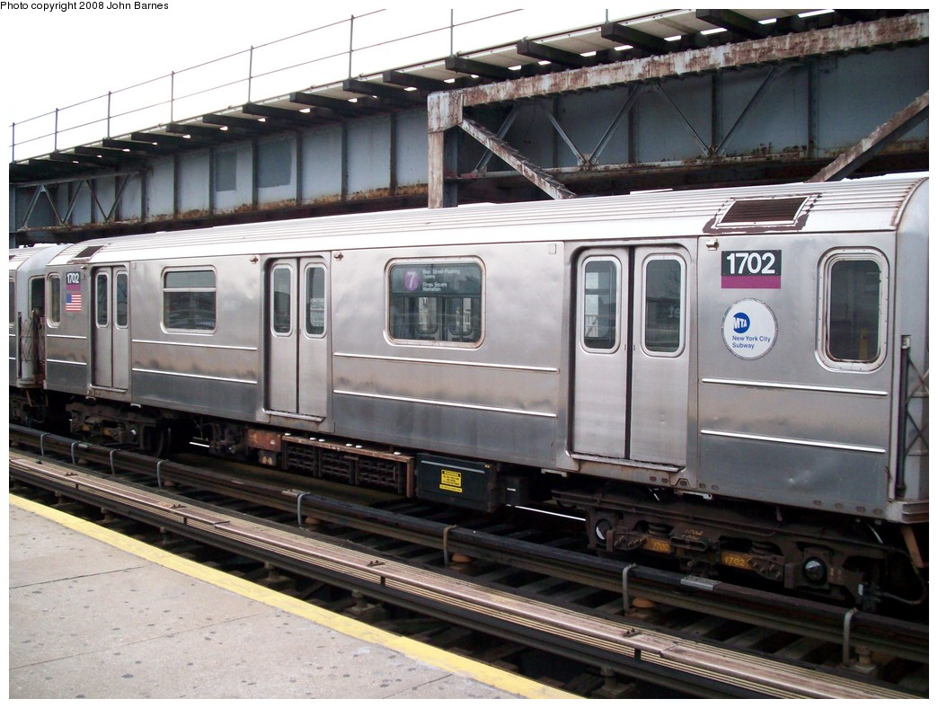 (222k, 1044x788)<br><b>Country:</b> United States<br><b>City:</b> New York<br><b>System:</b> New York City Transit<br><b>Line:</b> IRT Flushing Line<br><b>Location:</b> 111th Street <br><b>Route:</b> 7<br><b>Car:</b> R-62A (Bombardier, 1984-1987)  1702 <br><b>Photo by:</b> John Barnes<br><b>Date:</b> 4/7/2008<br><b>Viewed (this week/total):</b> 0 / 1531