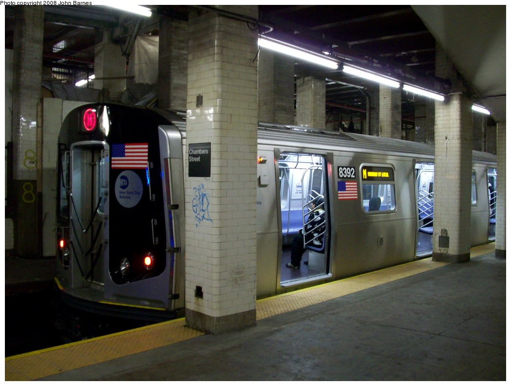 (191k, 1044x788)<br><b>Country:</b> United States<br><b>City:</b> New York<br><b>System:</b> New York City Transit<br><b>Line:</b> BMT Nassau Street/Jamaica Line<br><b>Location:</b> Chambers Street <br><b>Route:</b> M<br><b>Car:</b> R-160A-1 (Alstom, 2005-2008, 4 car sets)  8392 <br><b>Photo by:</b> John Barnes<br><b>Date:</b> 4/27/2008<br><b>Viewed (this week/total):</b> 0 / 3023